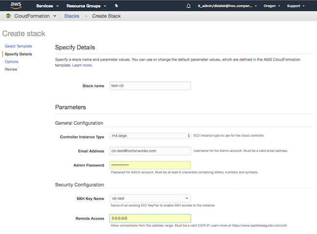 Launch Cloudbreak from the quickstart template on AWS