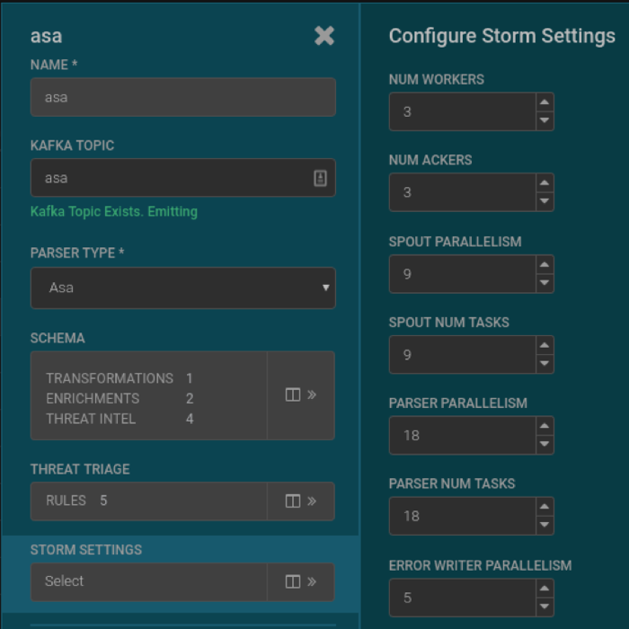 Tune Parser Core Storm Settings