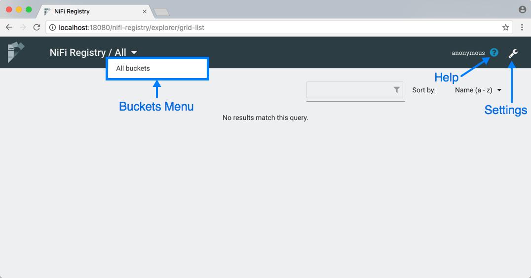 NiFi Registry User Interface