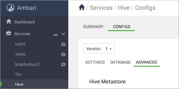 Configure the Apache Hive Metastore