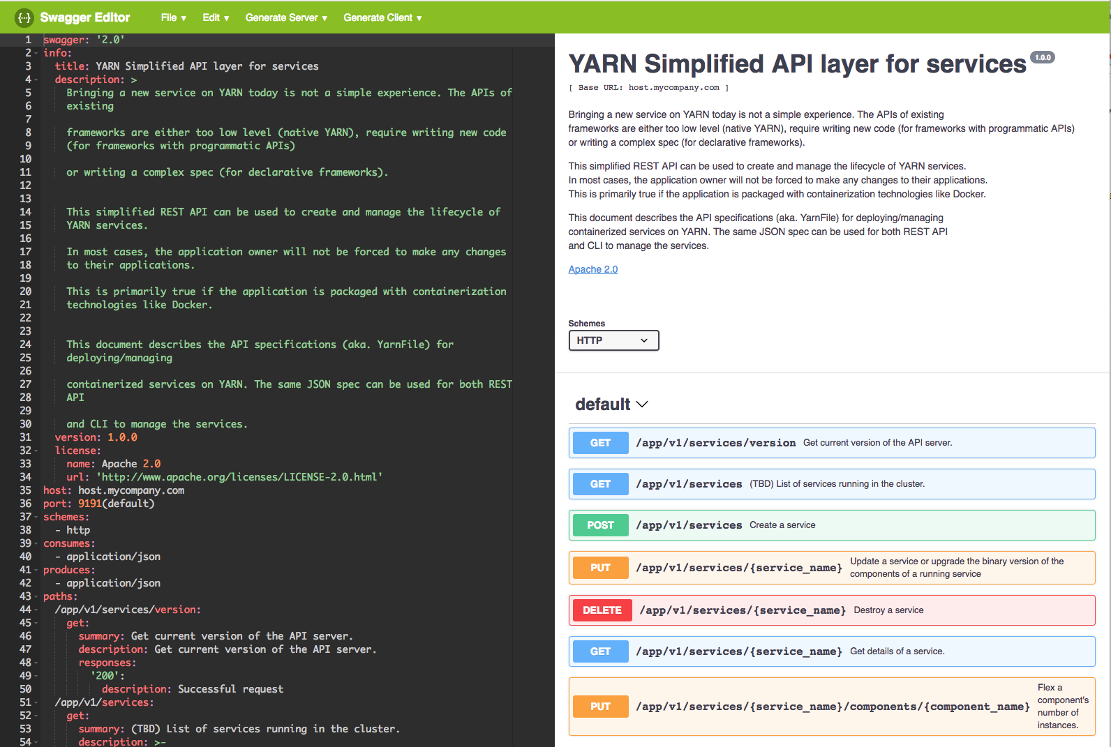 YARN Services API Swagger Specification